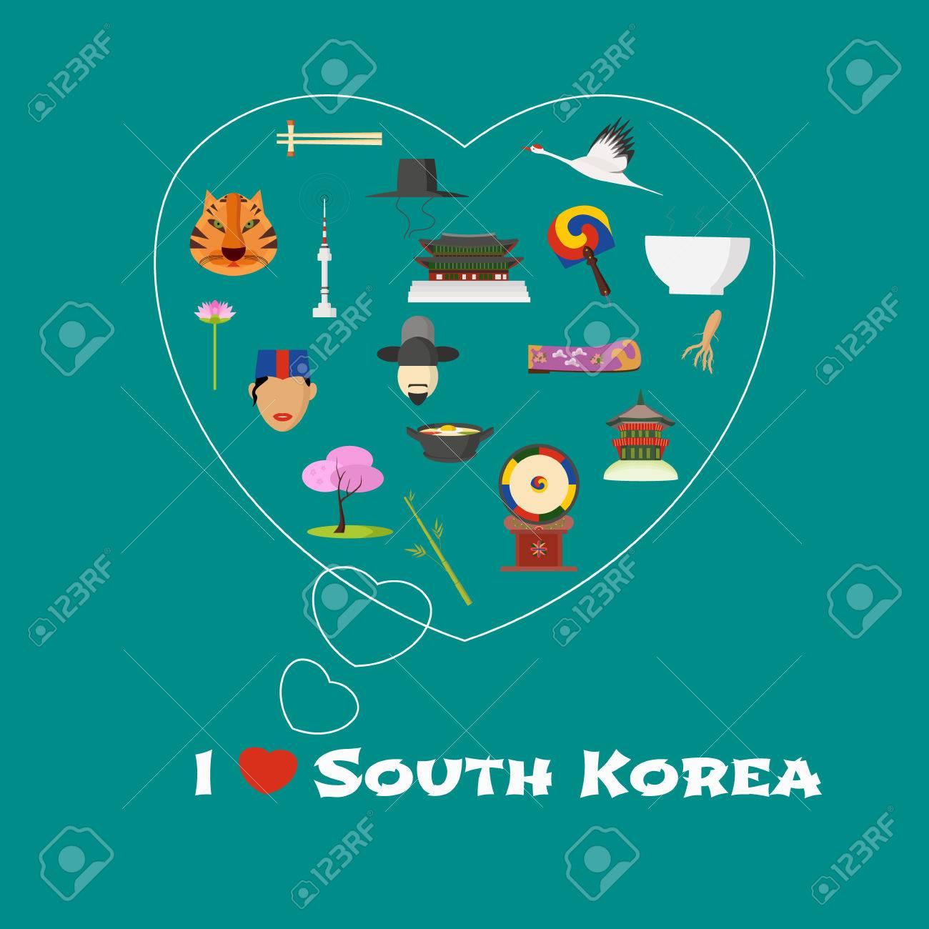 Heart Shape Illustration With I Love South Korea Quote Korean