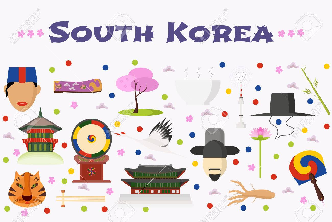 Travel to south korea vector icons set background or banner travel to south korea vector icons set background or banner korean landmarks food biocorpaavc Image collections