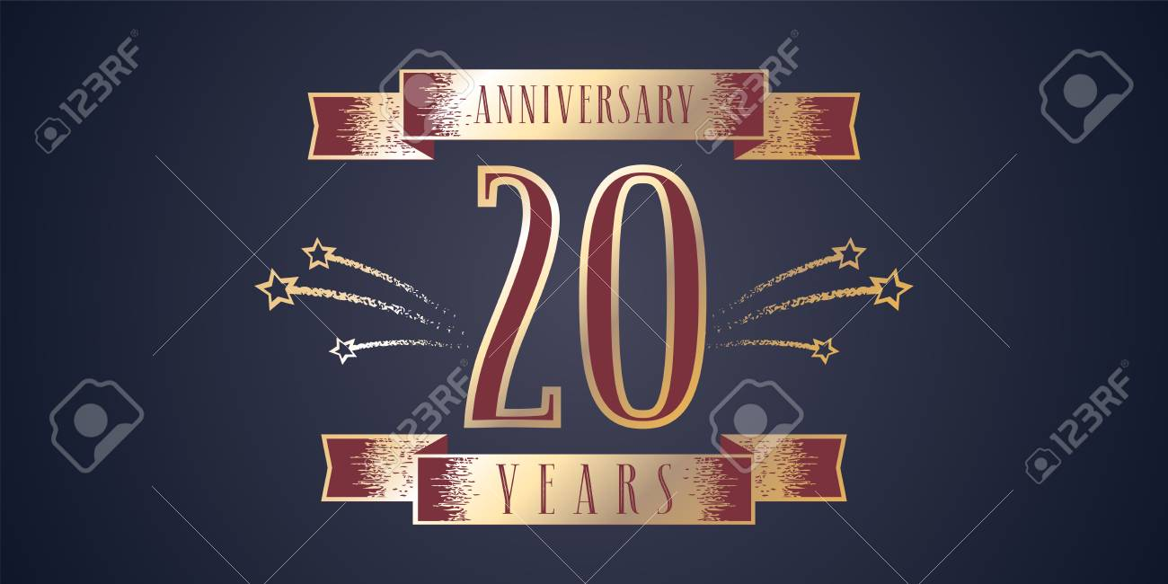 20 Anos De Aniversario Celebracion Vector Celebracion Elemento De