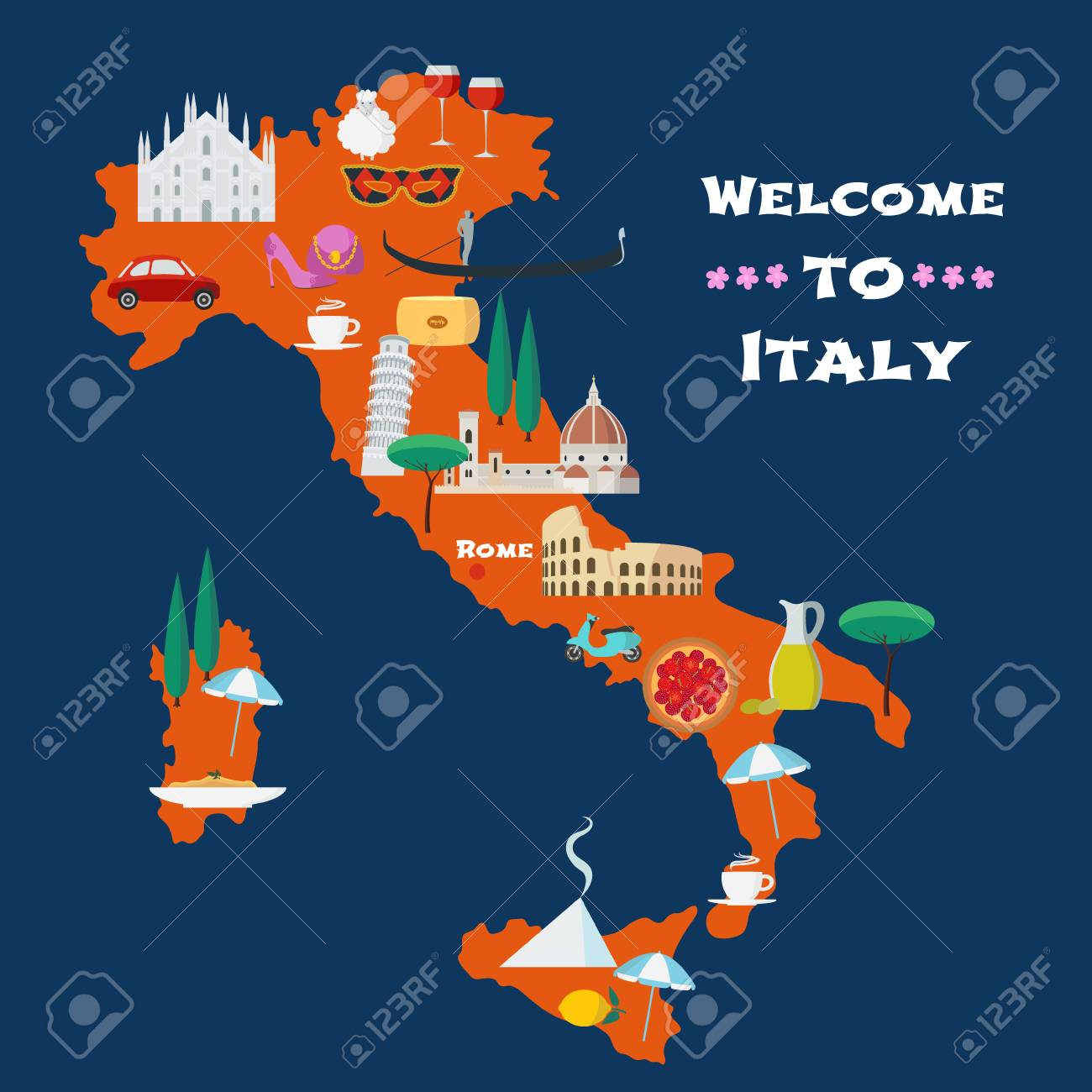 Map of italy vector illustration design icons with italian map of italy vector illustration design icons with italian colosseum pizza milano gumiabroncs Image collections