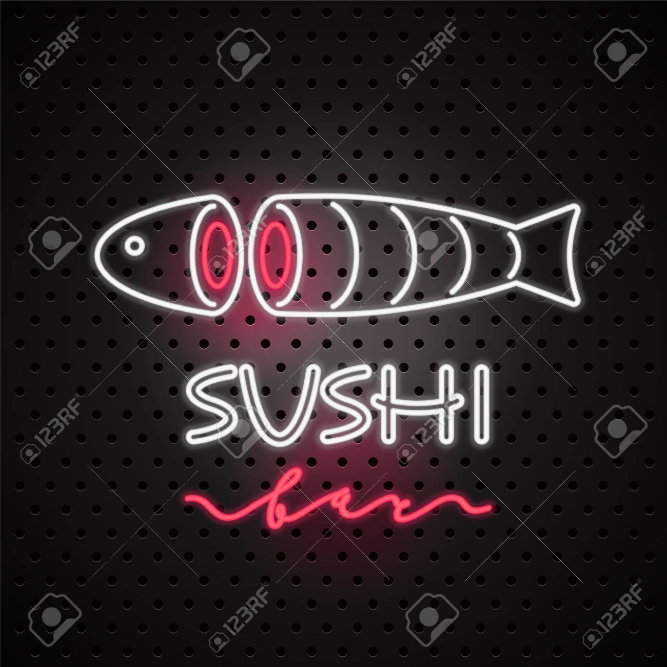 vector icon design element for sushi with neon sign template