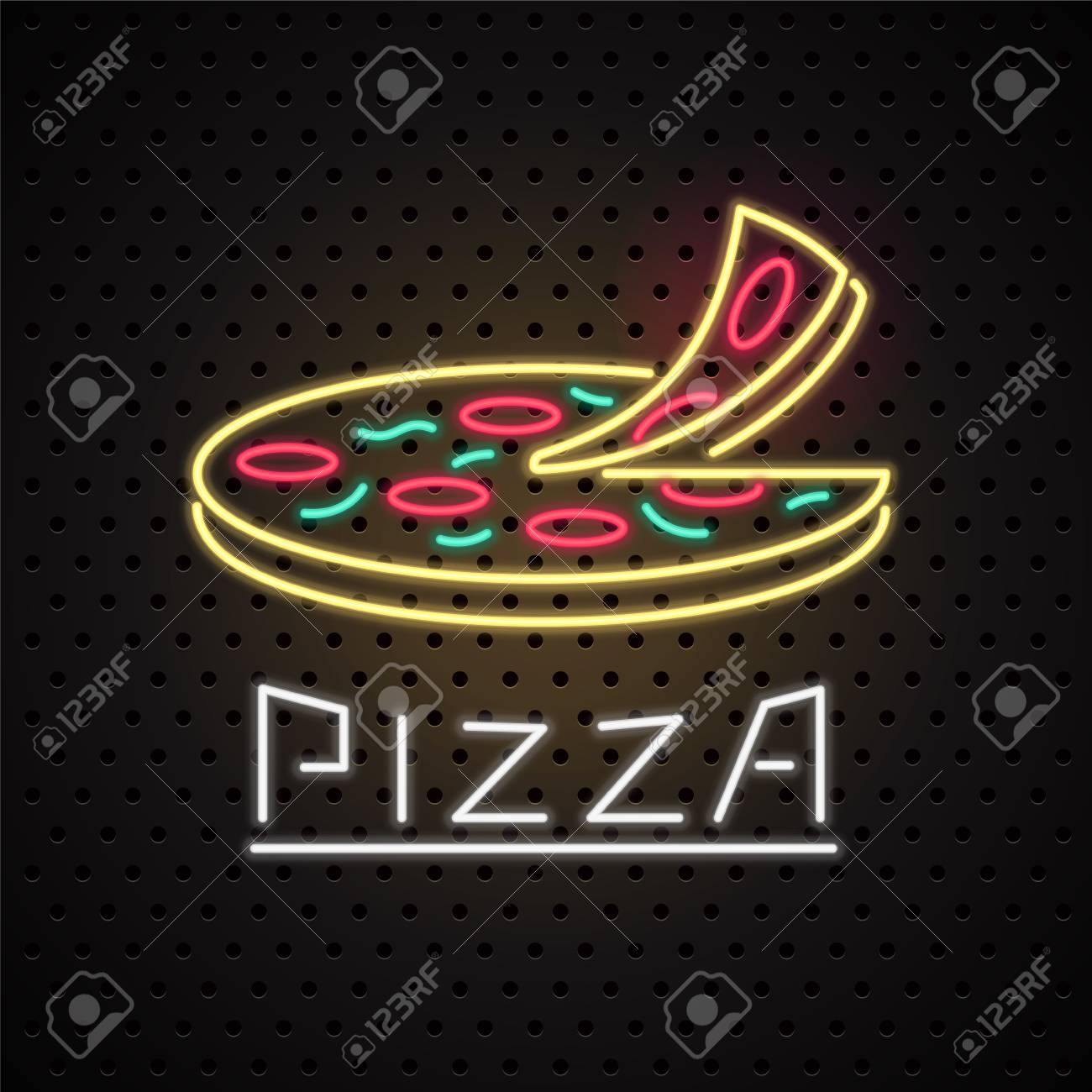 vector icon design element for pizza with neon sign template