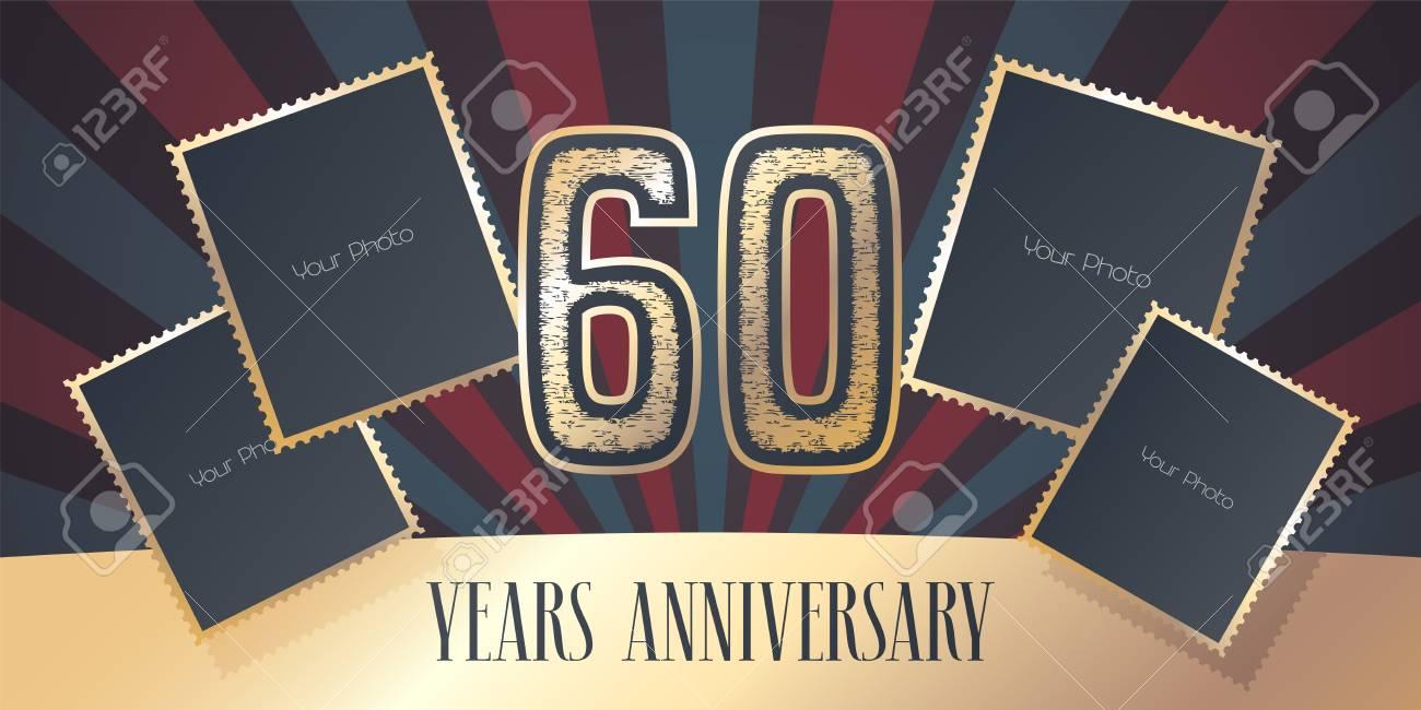 Icone De Vecteur De 60 Ans Anniversaire Logo Element De Conception De Modele Carte De Voeux Avec Collage De Cadres Photo Et Numero De Couleur Or Pour Le 60e Anniversaire Peut Etre