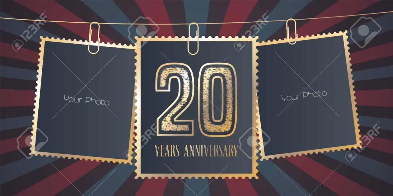 Emblema Del Vector Del Aniversario De 20 Años, Logotipo. Elemento De ...