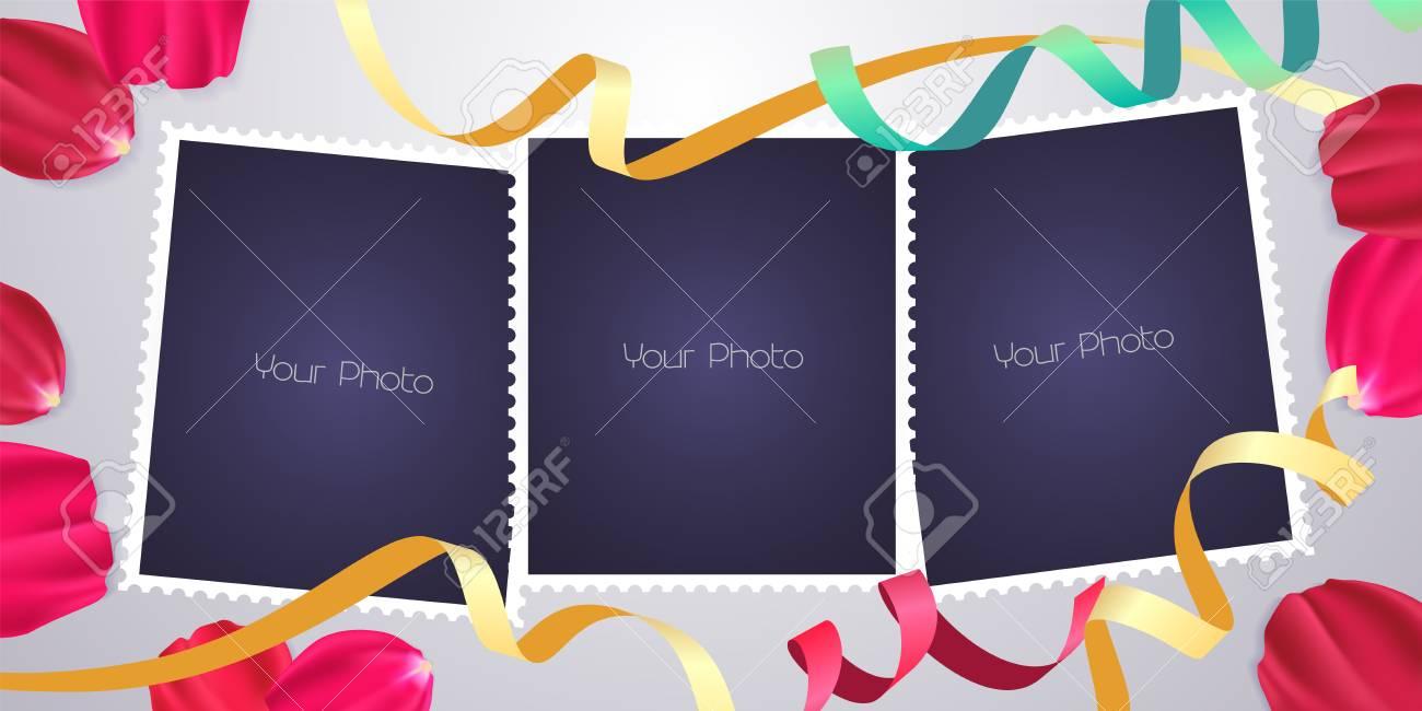 Collage De Marcos De Fotos O Ilustración De Vector De Bloc De Notas ...