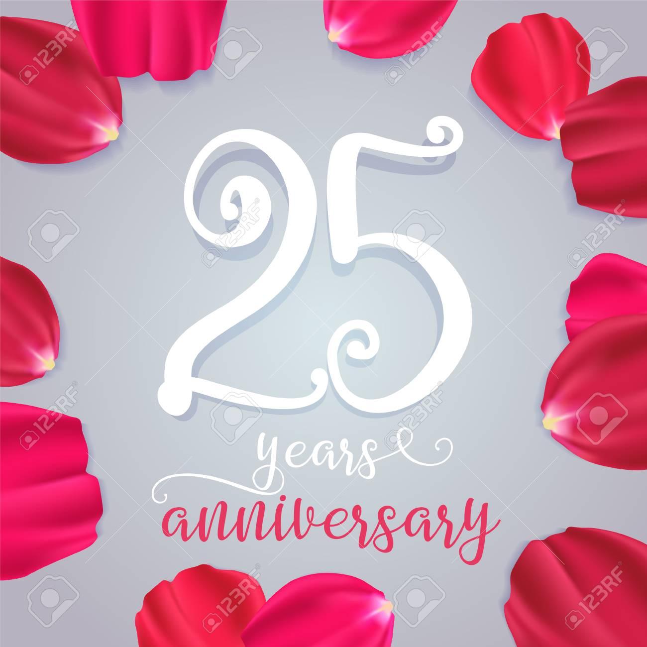 Anniversario 25 Anni Matrimonio.25 Years Anniversary Vector Icon Logo Graphic Design Element