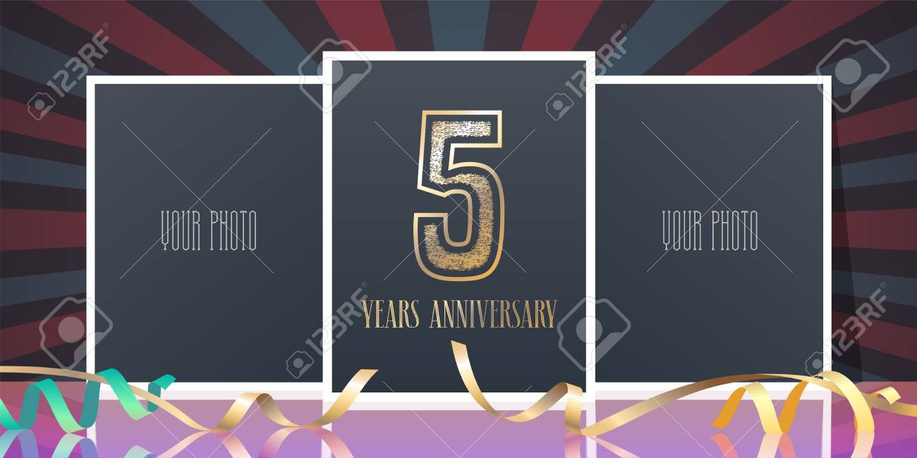 5 Years Anniversary Vector Icon Template Design Element Greeting