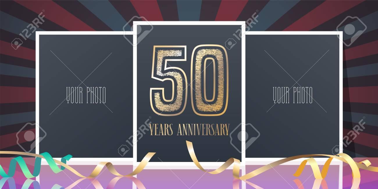 Icone De Vecteur Anniversaire 50 Ans Element De Conception De Modele Carte De Voeux Avec Collage De Cadres Et Numero De Photo Pour Le 50e Anniversaire Clip Art Libres De Droits