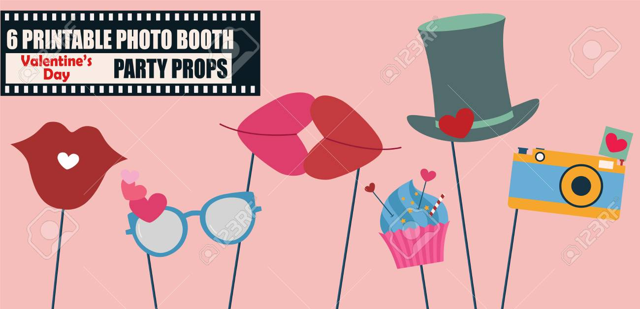 Happy Valentines Day Photo Booth Props Icon Set Vector Illustration