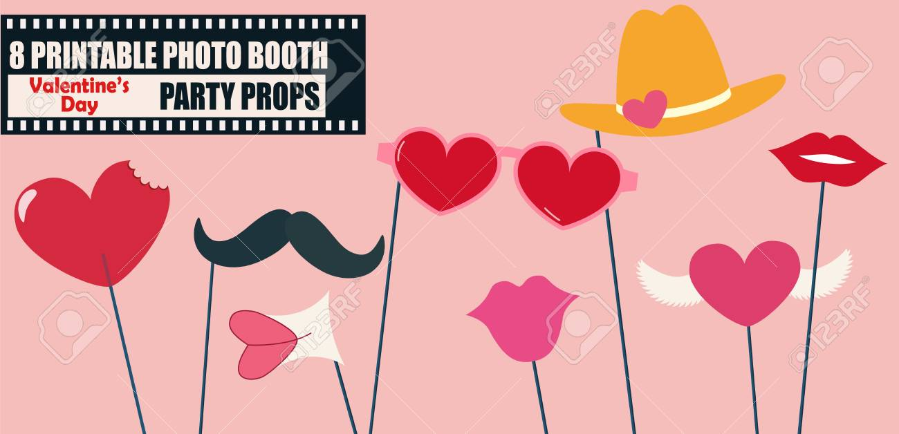 Happy Valentines Day Or Hipster Style Photo Booth Props Vector