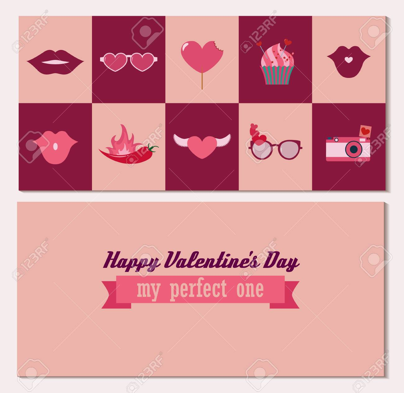 Happy Valentines Day Double Side Greeting Card In Vector Design