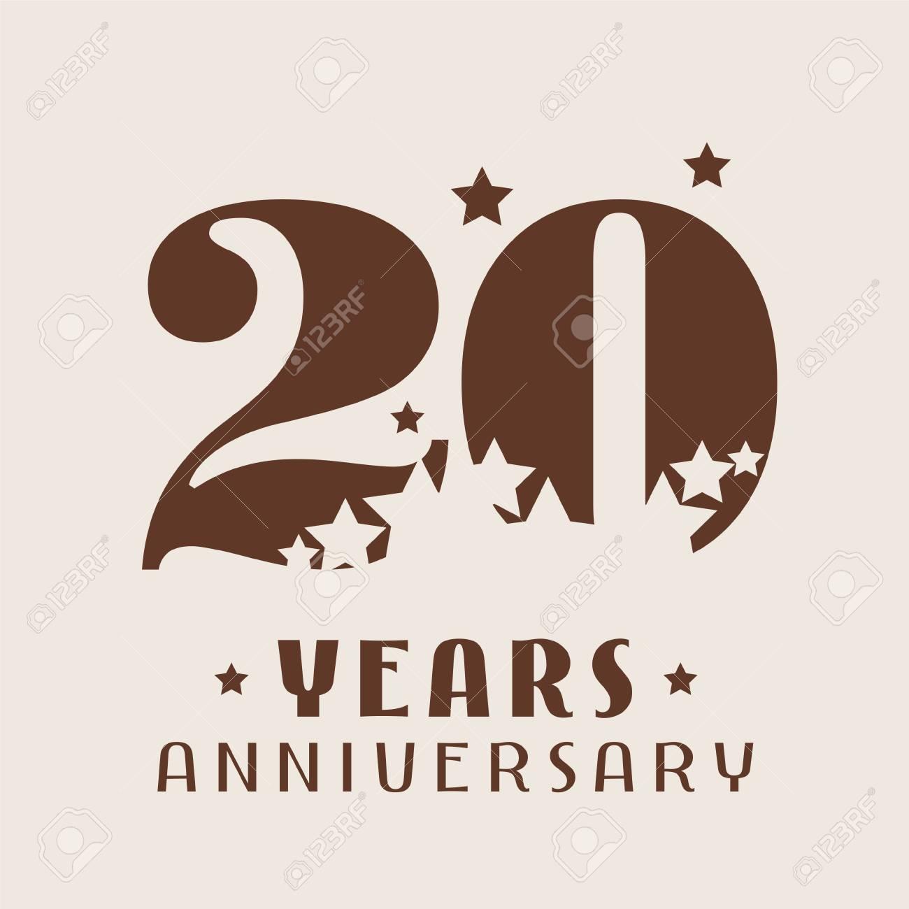 Icône De Vecteur 20 Ans Anniversaire Logo élément De Design Graphique Avec Décoration De Nombre Et Détoiles Pour Le 20e Anniversaire