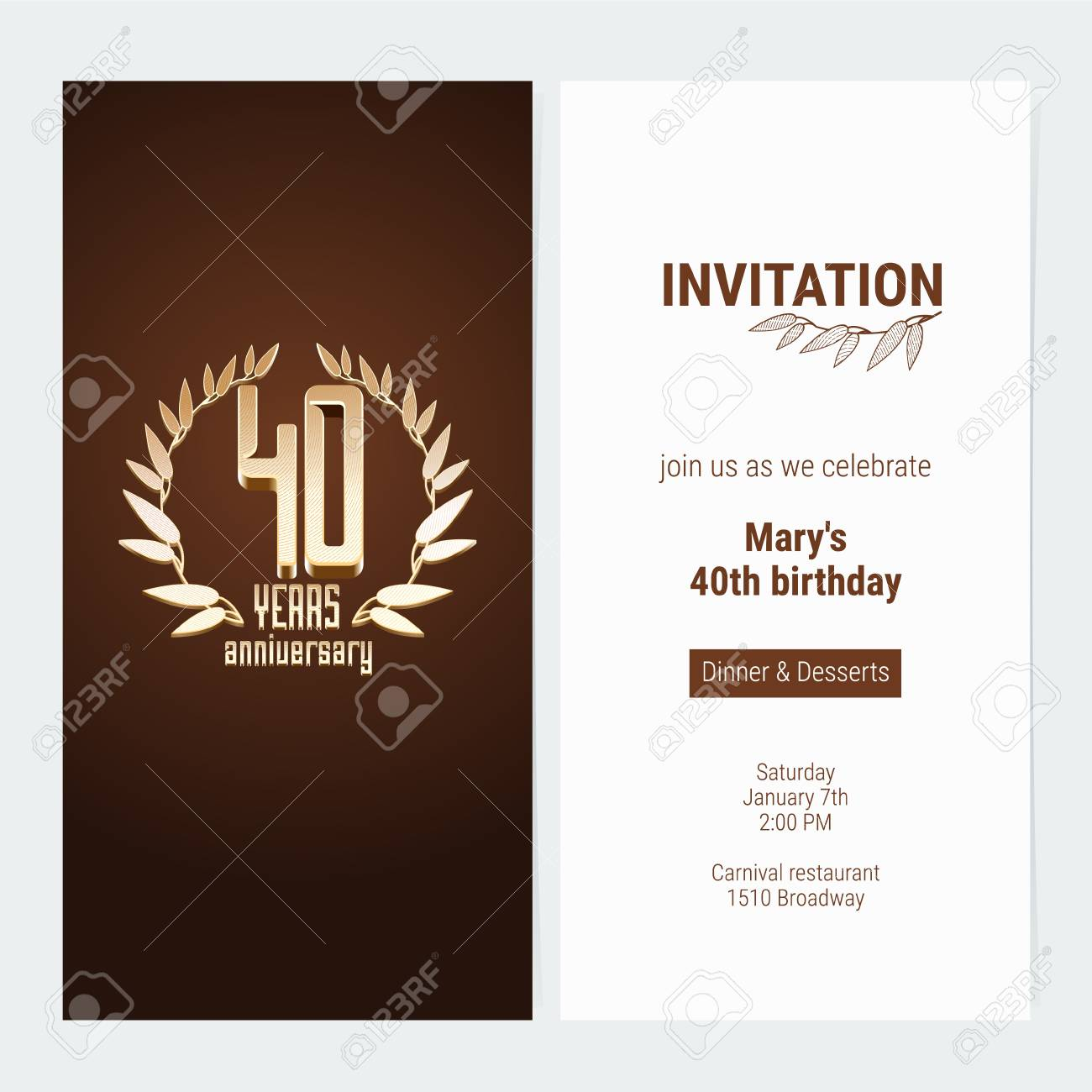 40 years anniversary invitation to celebrate the event vector 40 years anniversary invitation to celebrate the event vector illustration design template element with golden stopboris Gallery