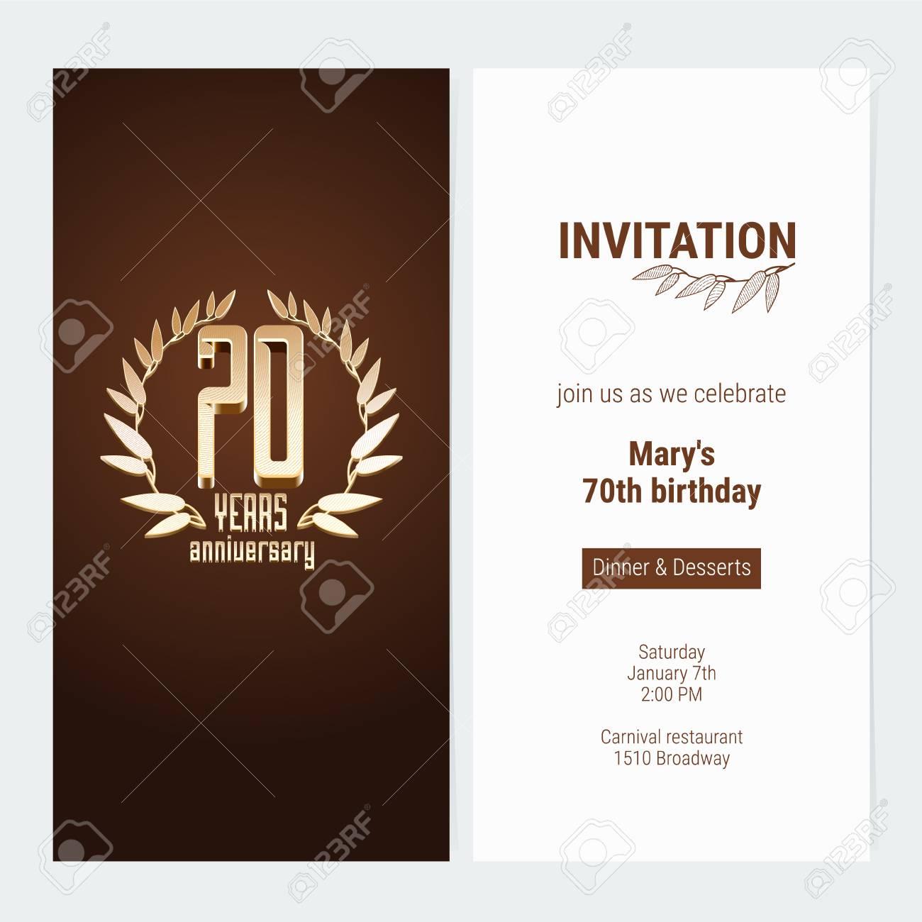 70 Años Aniversario Invitación A Celebrar La Ilustración Vectorial De Evento Diseñe El Elemento De La Plantilla Con El Número De Oro Y El Texto Para