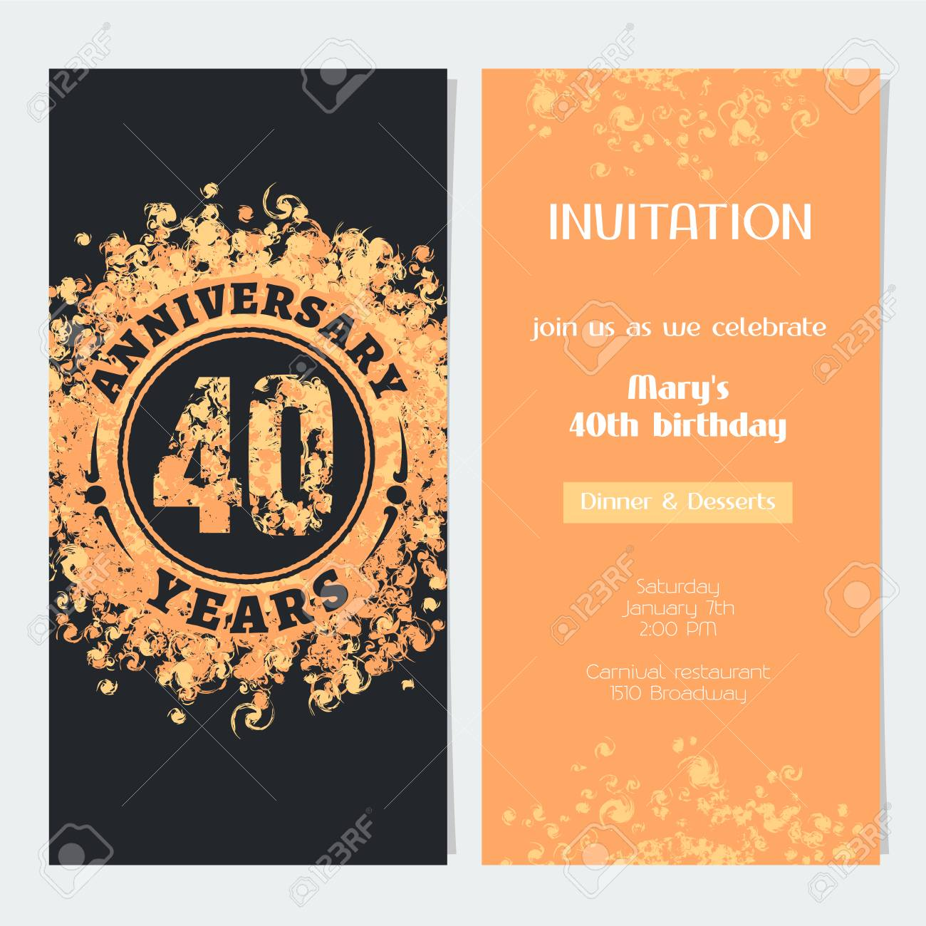 Invitation Anniversaire De 40 Ans A L Illustration Vectorielle De