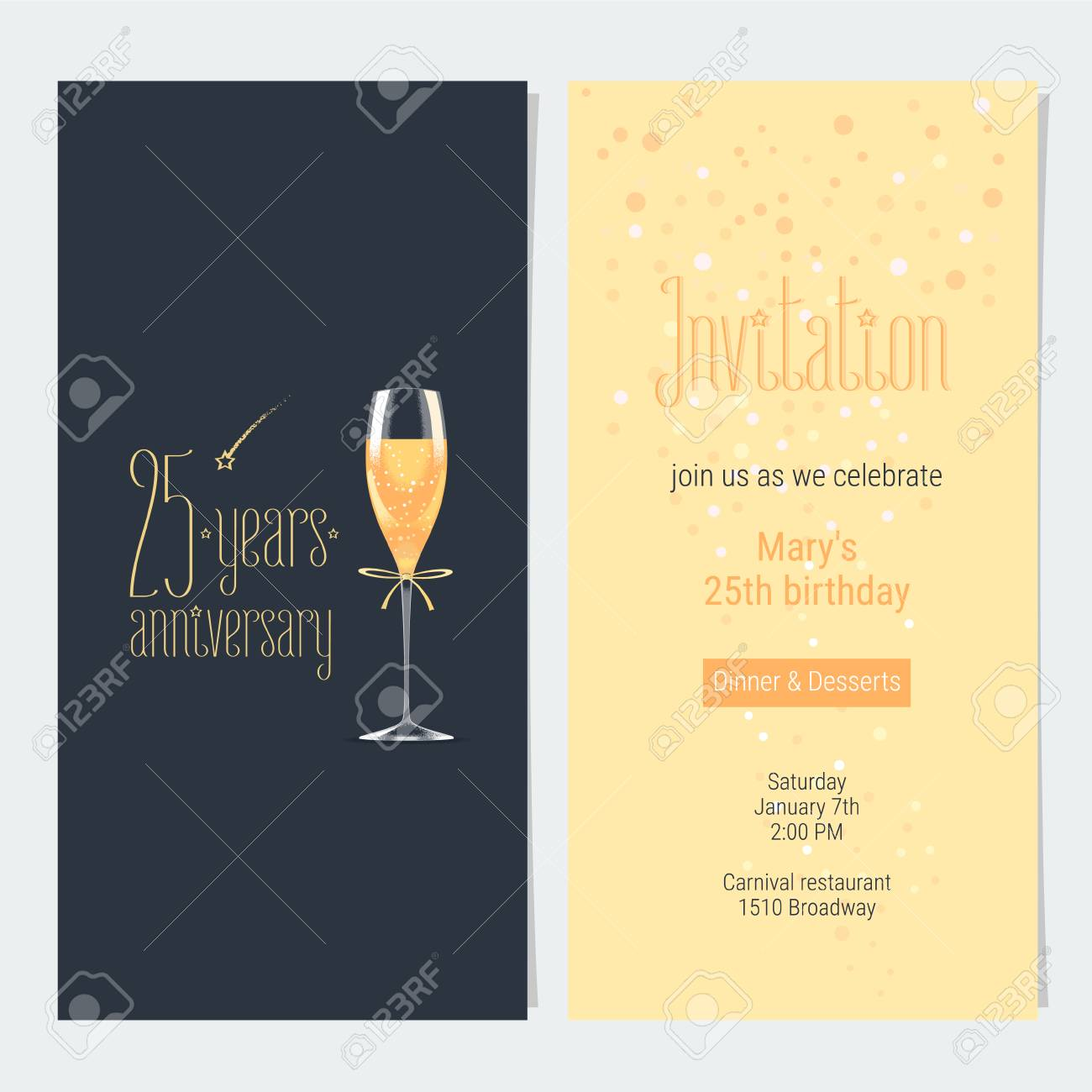 25 Years Anniversary Invitation Vector Illustration Design Element