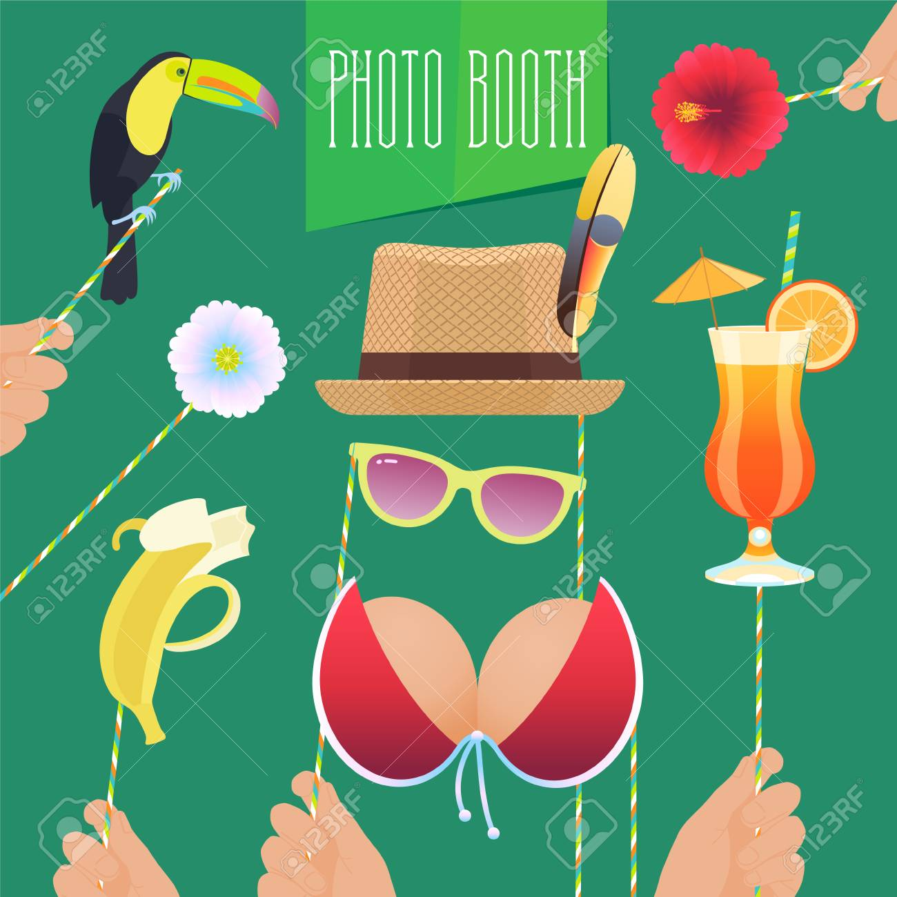 picture about Printable Photo Props titled Picture booth printable props assortment for tropical social gathering vector..