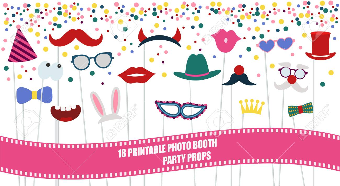 Big photo booth props set for birthday or party vector illustration