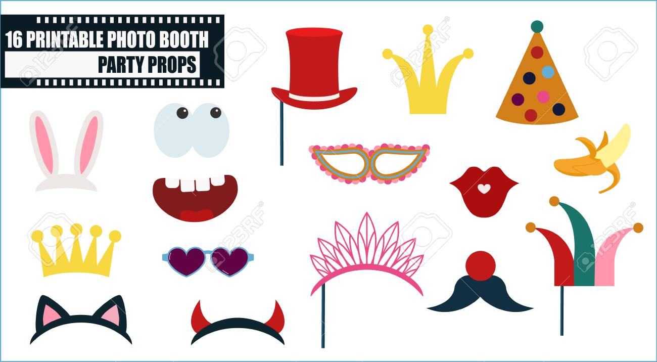 Photo booth props collection for birthday or fun party vector