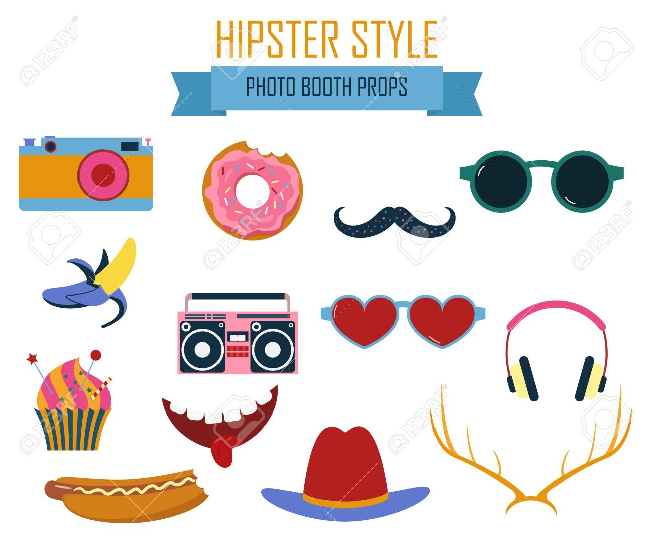 photograph about Printable Props titled Picture booth printable props selection inside of hipster structure vector..