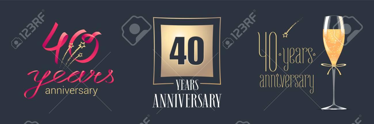 Ongebruikt 40 Jaar Verjaardag Vector Pictogram, Logo Set. Feestelijk IF-61