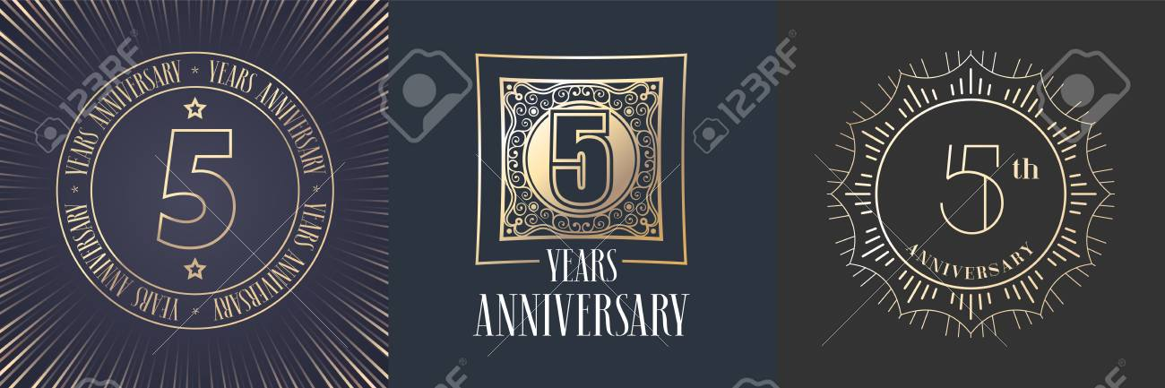 5 Years Anniversary Vector Icon Logo Set Graphic Round Gold
