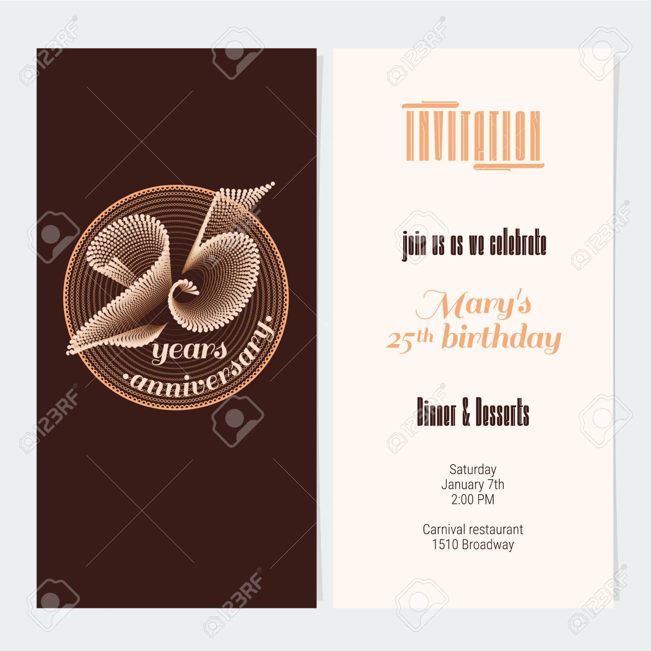 25 Years Anniversary Invitation Vector Illustration Graphic Design Element For 25th Birthday Card Party