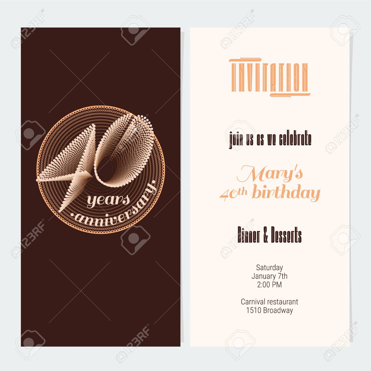 40 Years Anniversary Invitation Vector Illustration Graphic Design Element For 40th Birthday Card Party