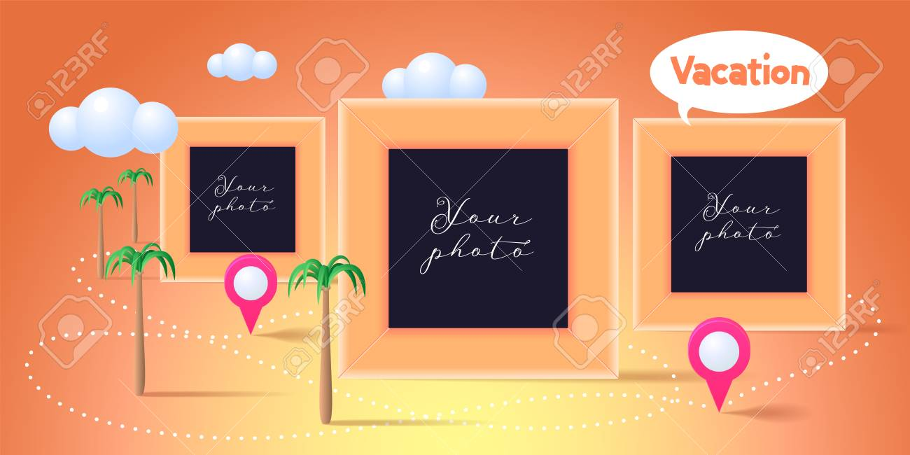 Collage Of Photo Frames Or Scrapbook For Photo Album Vector ...