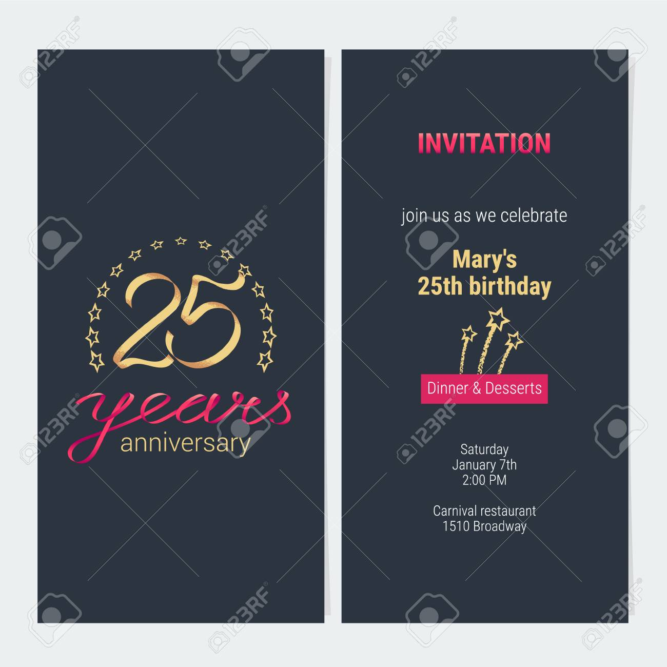 25 years anniversary invitation to celebration vector illustration 25 years anniversary invitation to celebration vector illustration graphic design element with elegant background for stopboris Gallery