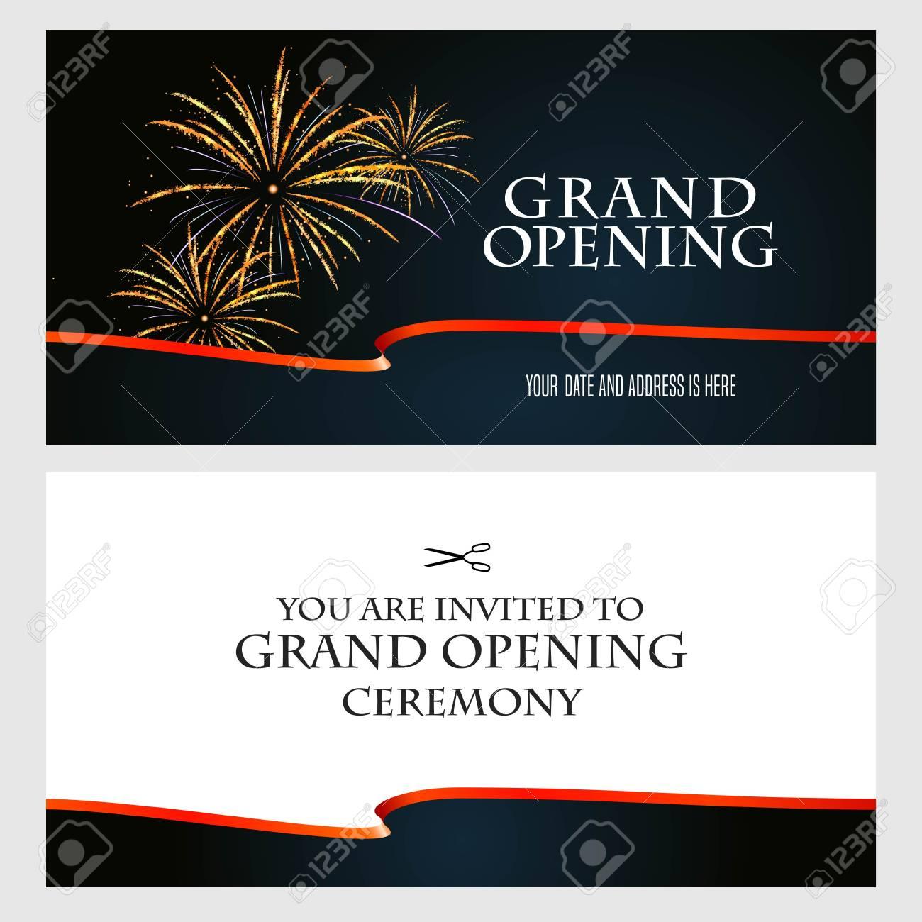 Grand Opening Vector Illustration Background Invitation Card