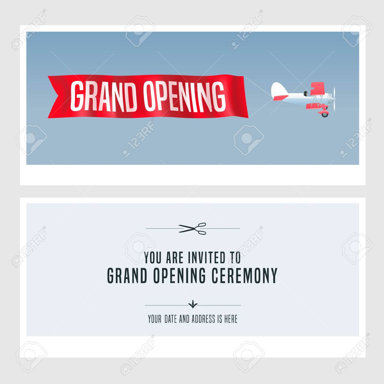 Vector   Vector Retro Biplane Design Element For Invitation Card To Grand  Opening Ceremony. Store Opening Soon Invite
