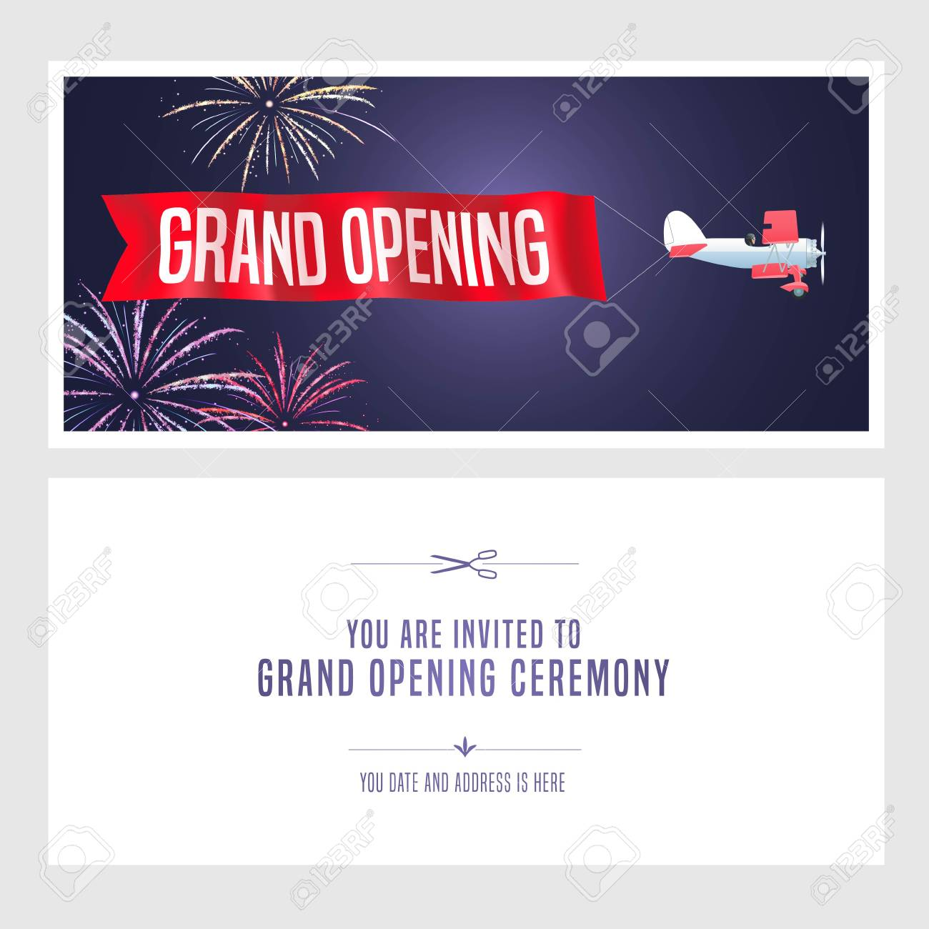 Vintage airplane with grand opening banner vector illustration vector vintage airplane with grand opening banner vector illustration invitation card template flyer invite design element for opening ceremony stopboris Images