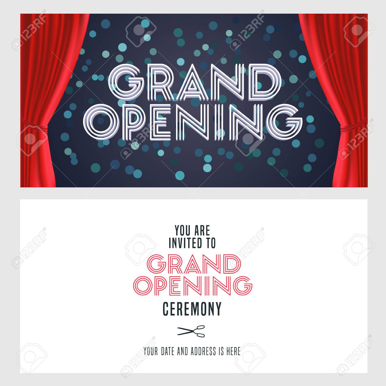 grand opening vector banner illustration invitation card template festive invite design with red