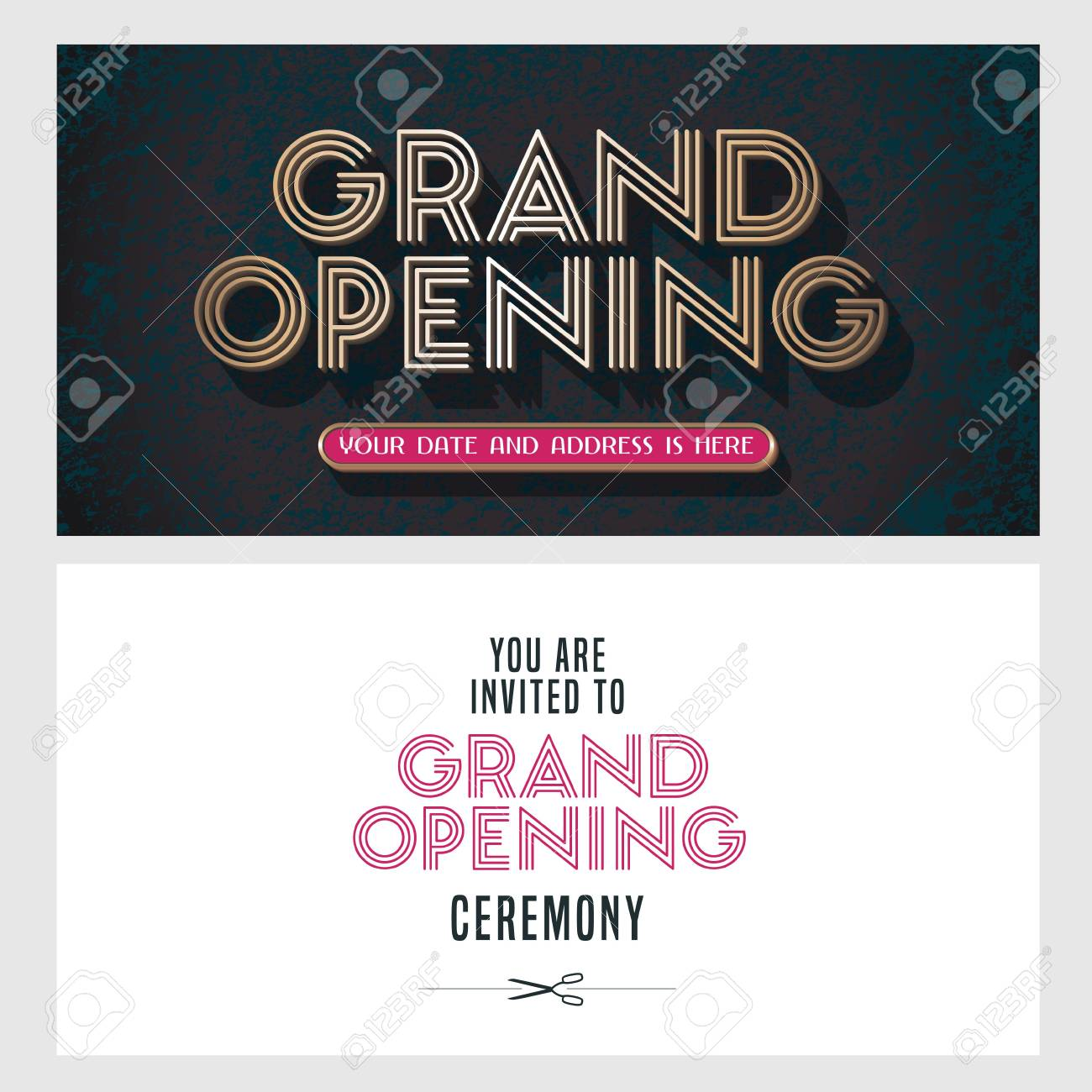 Grand Opening Vector Illustration Invitation Card For New Store