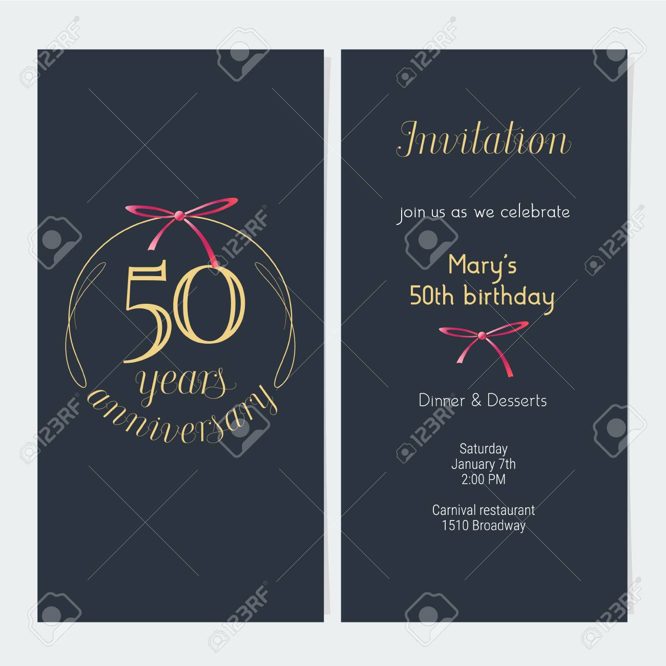 50 years anniversary invitation vector illustration graphic 50 years anniversary invitation vector illustration graphic design template with golden number for 50th anniversary stopboris Image collections