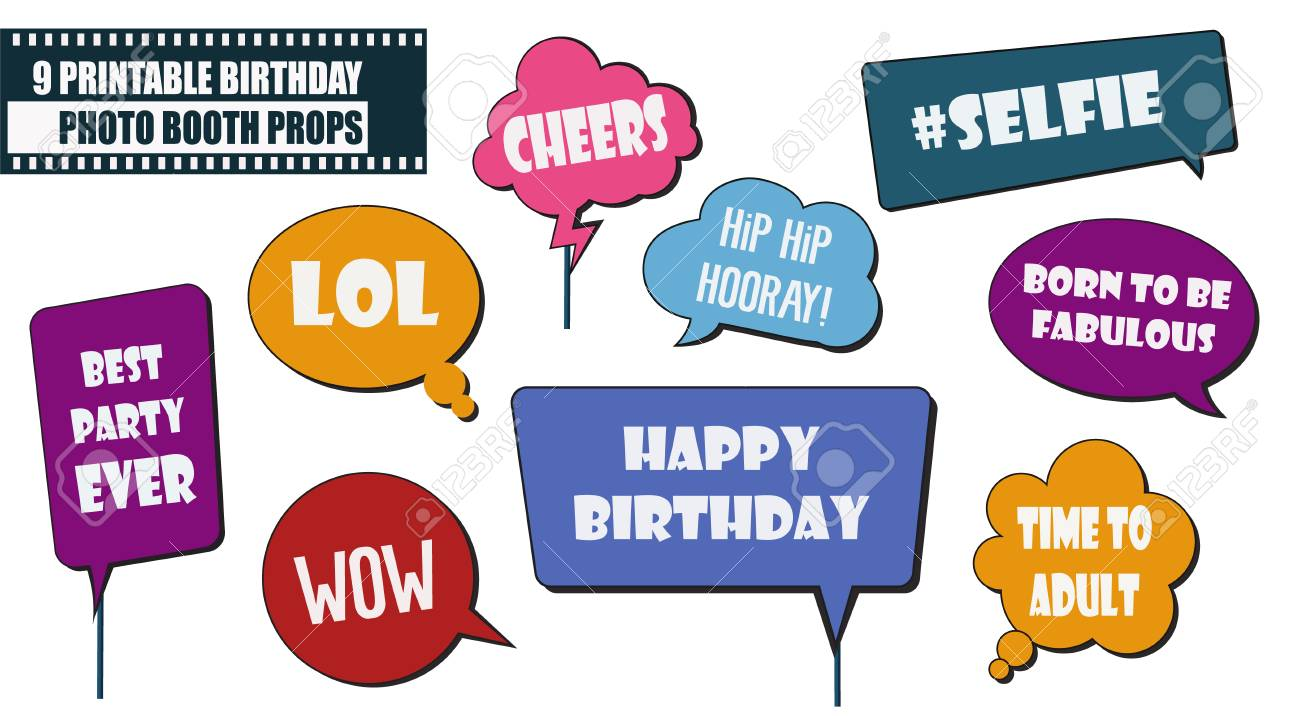 image regarding Printable Speech Bubbles identified as Picture booth props fixed for birthday bash vector instance