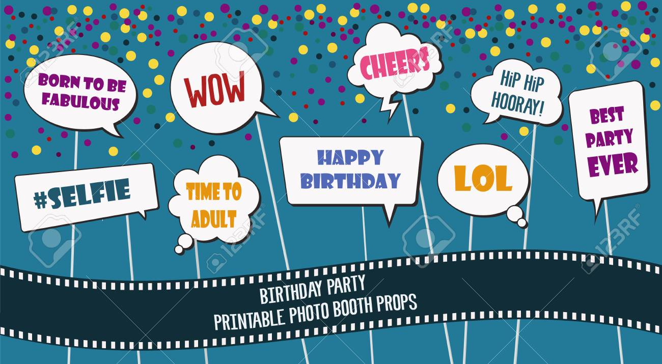 image about Printable Photo Booth Props Birthday referred to as Picture booth props established for birthday celebration vector example