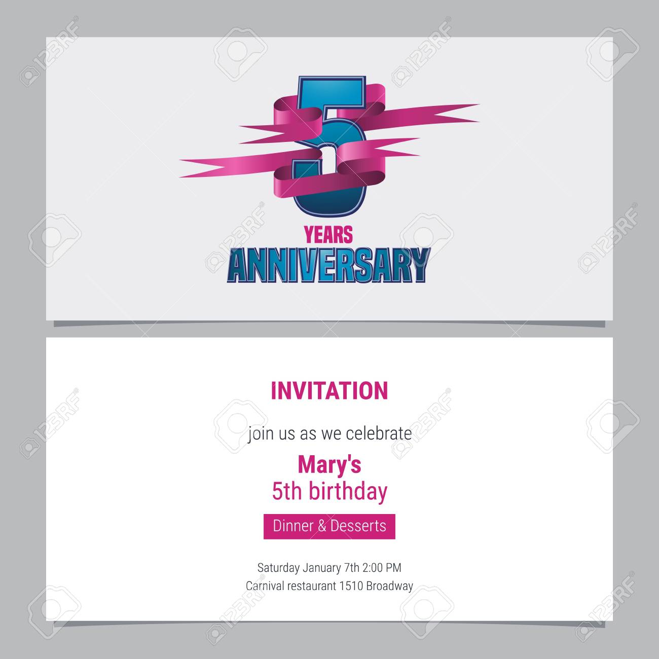5 years anniversary invitation to celebration vector illustration 5 years anniversary invitation to celebration vector illustration design element with text for 5th birthday stopboris Image collections