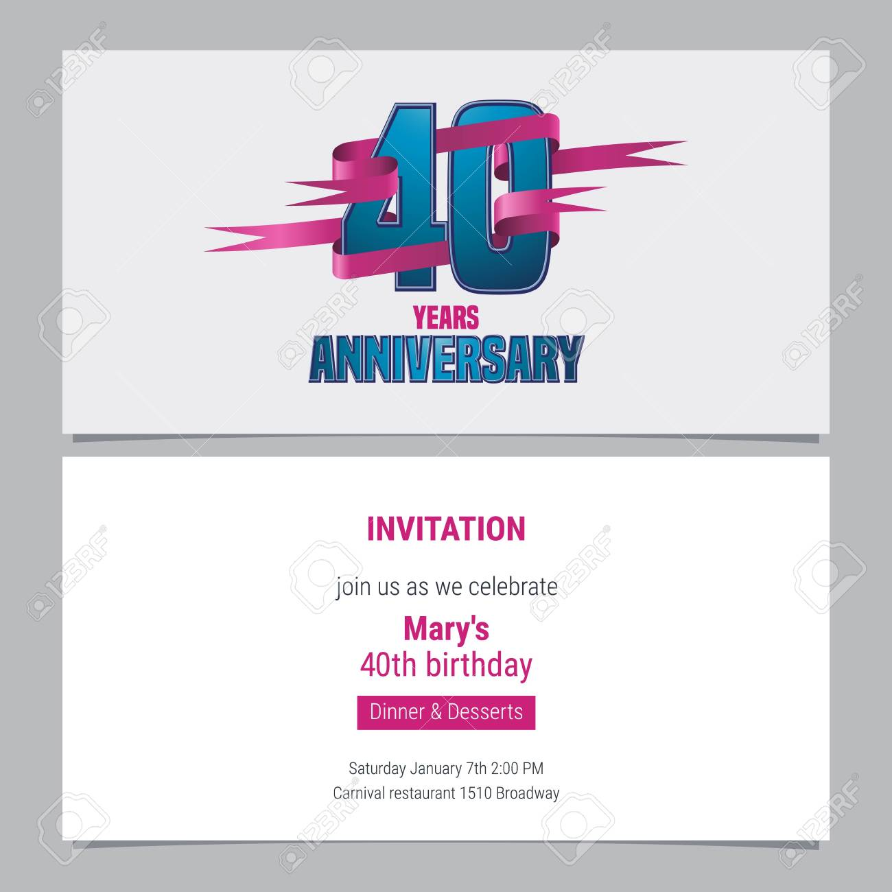 40 Years Anniversary Invitation To Celebration Vector Illustration Design Element With Text For 40th Birthday