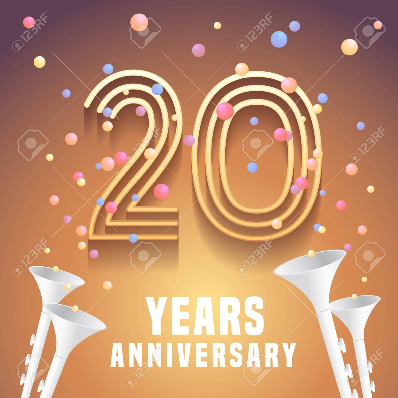 20 Years Anniversary Vector Icon Symbol Graphic Design Element
