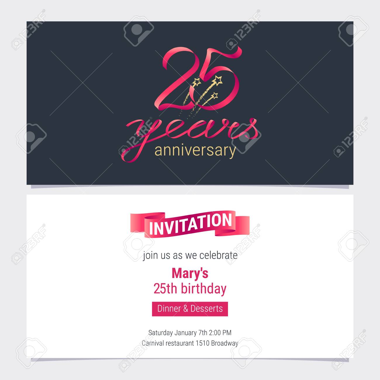 25 Years Anniversary Invite Vector Illustration Graphic Design Element For 25th Birthday Card Party