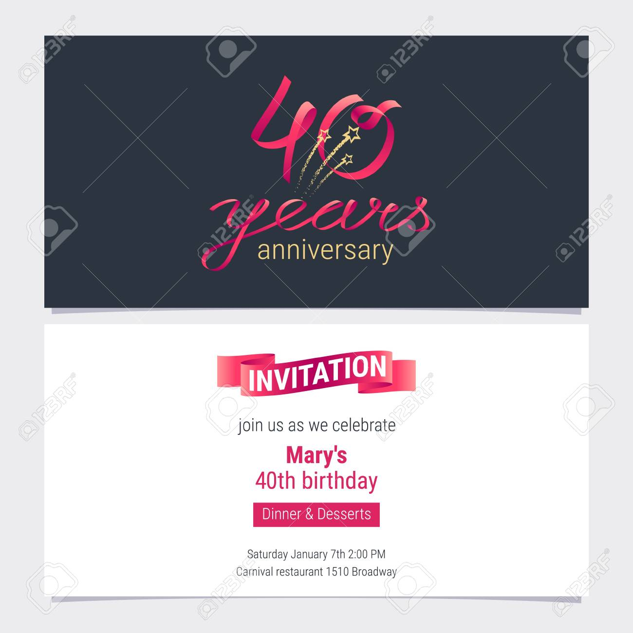 40 Years Anniversary Invite Vector Illustration Graphic Design Element For 40th Birthday Card Party