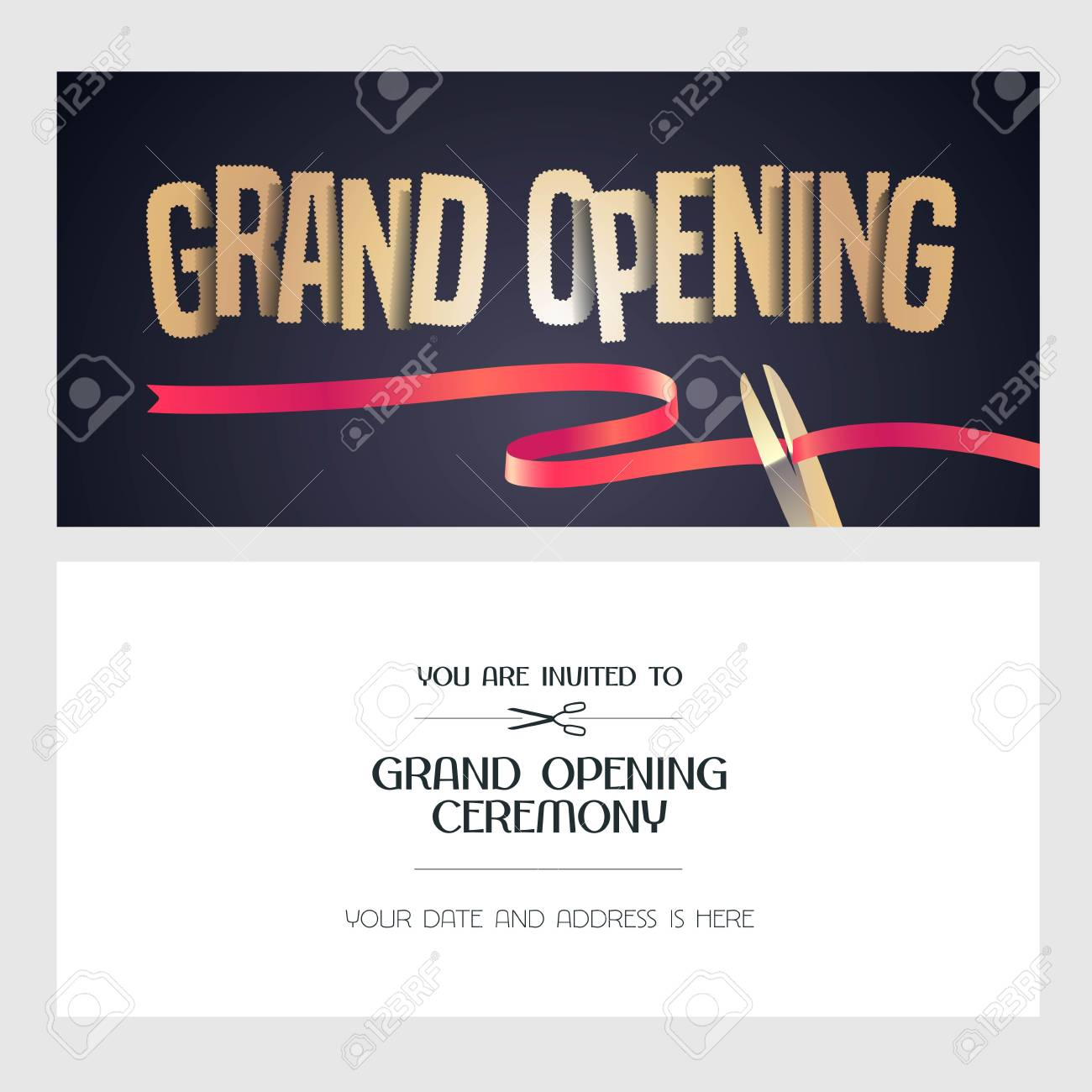 Grand Opening Vector Banner Illustration Invitation Card With