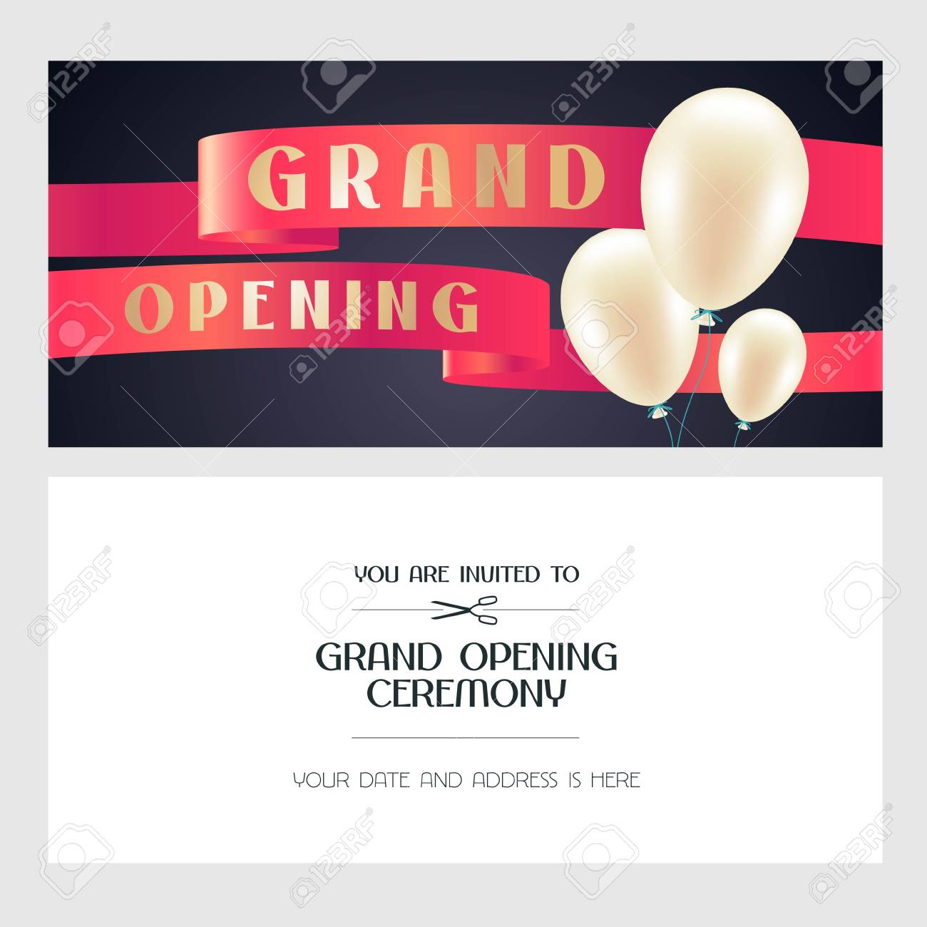 grand opening vector illustration invitation card with air balloons for new store template banner