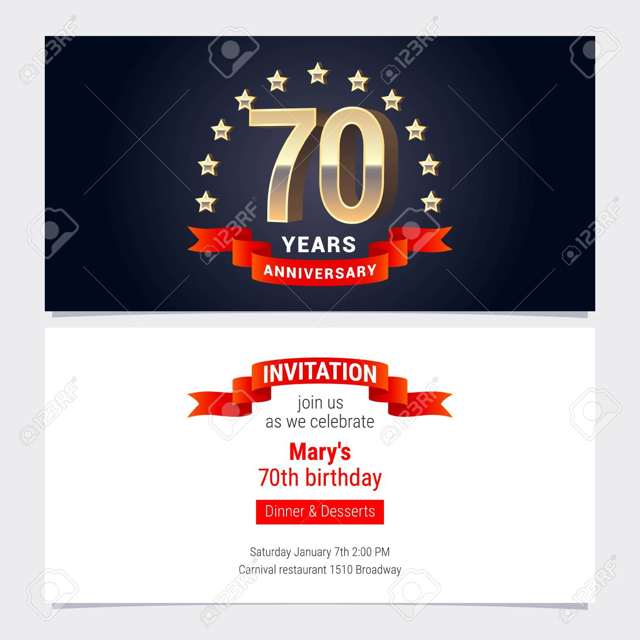 70 Years Anniversary Invitation To Celebration Vector Illustration ...