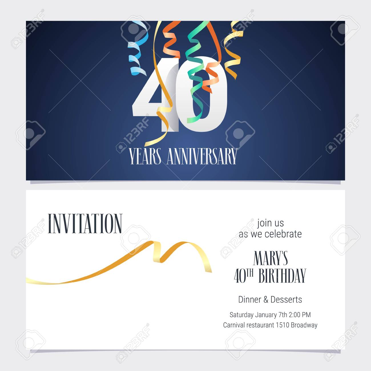 40 Years Anniversary Invitation To Celebrate The Event Vector Illustration Design Template Element With Number