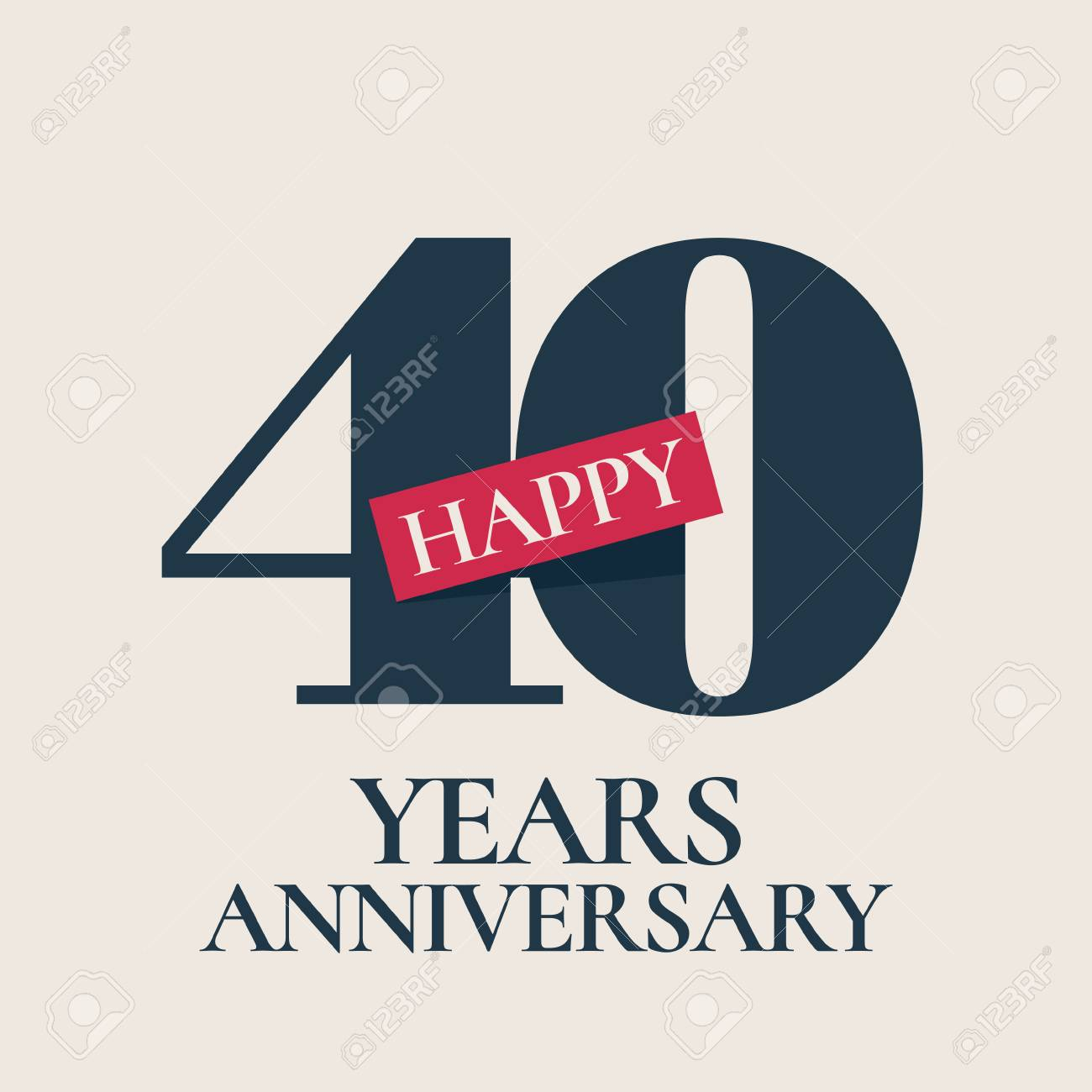 40 Years Anniversary Vector Icon Template Design Element