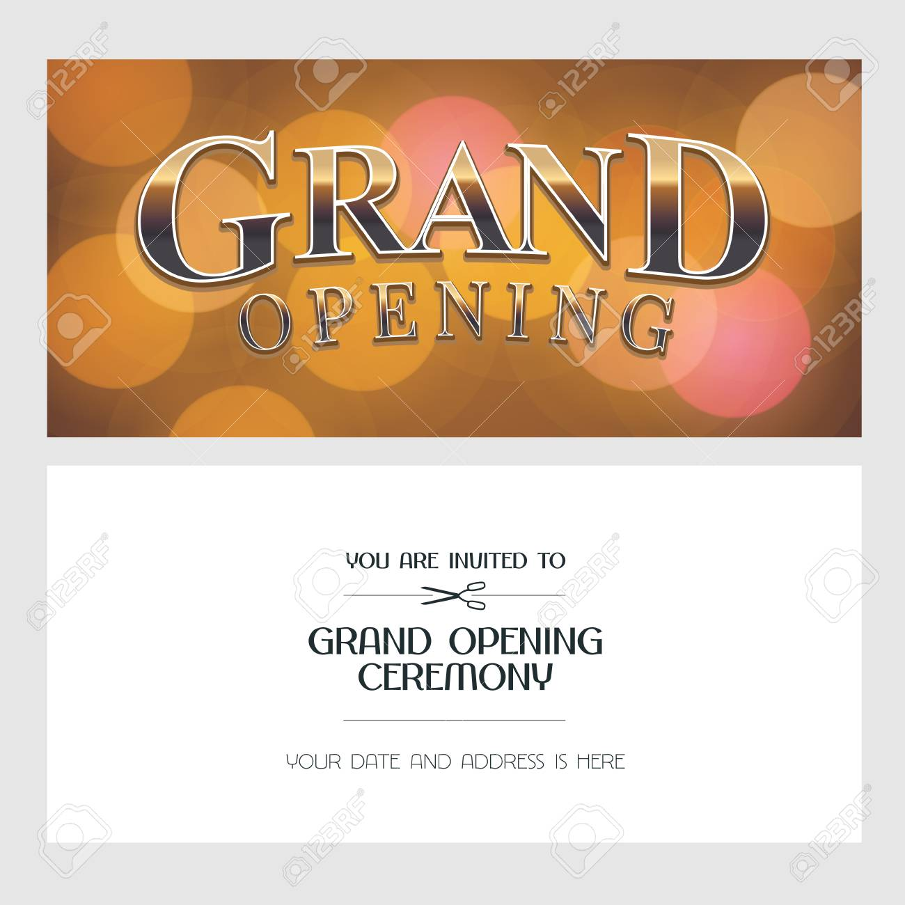 Grand Opening Vector Illustration Background Invitation Card