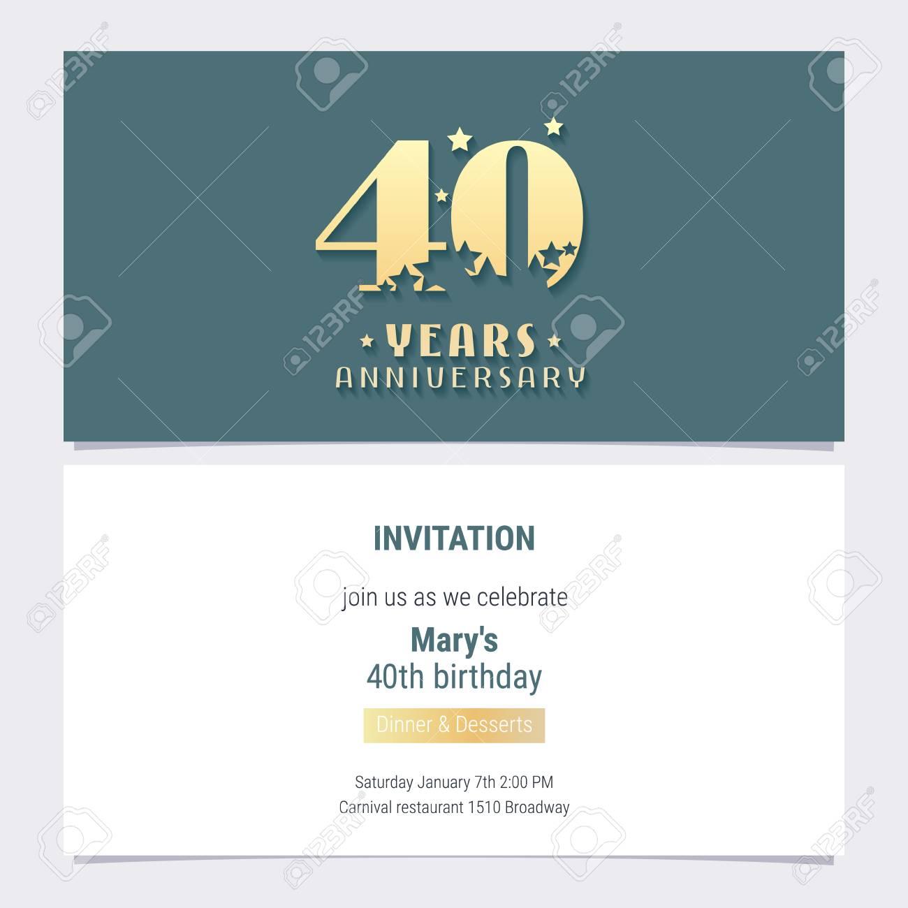 40 years anniversary invitation vector royalty free cliparts 40 years anniversary invitation vector banco de imagens 104381099 stopboris Image collections